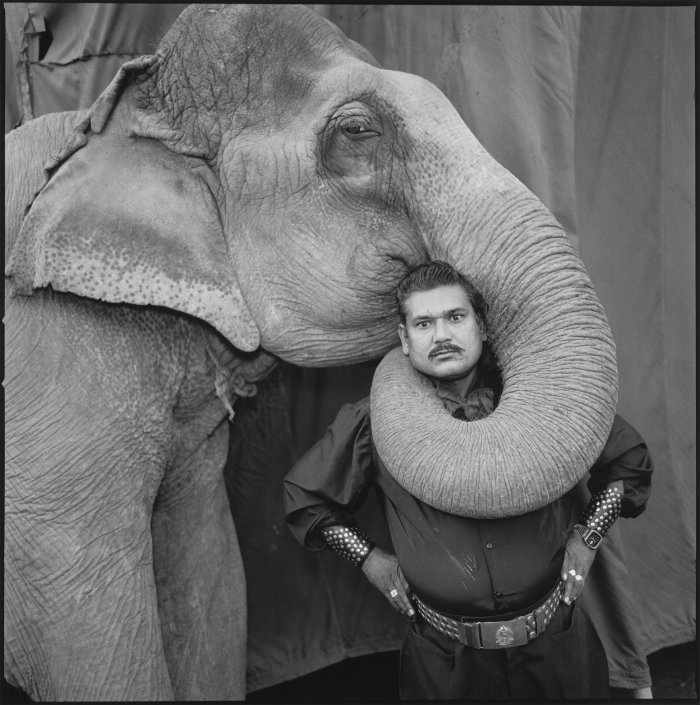 Ram Prakash Singh with his elephant Shyama, Great Golden Circus, Ahmedabad, India, 1990
