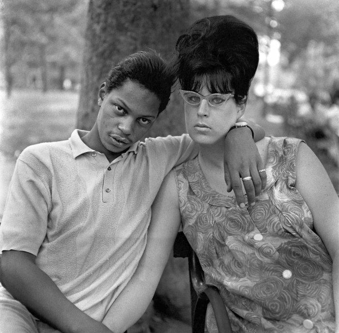 A Young Man and his Pregnant Wife in Washington Square Park, New York City, 1971