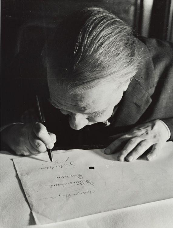 Jorge Luis Borges en la Biblioteca Nacional, 1963. Foto: Alicia D'Amico